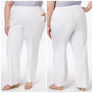 Alfred Dunner White Classic Fit Pants Size 18W Med